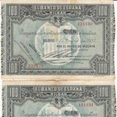 Billetes españoles: 2 BILLETES: 100 PESETAS BANCO DE ESPAÑA - BILBAO / BANCO DE VIZCAYA - CONSECUTIVOS. Lote 208589771