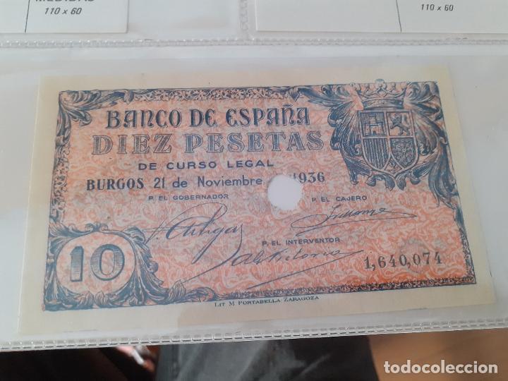 10 PESETAS DE 1936. BURGOS. PORTABELLA, ZARAGOZA. SC. TALADRADO (Numismática - Notafilia - Billetes Españoles)