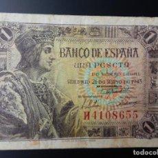 Notas espanholas: MBC- - SERIE H - BILLETE DE 1 PESETA DE 1943 - FERNANDO EL CATOLICO. Lote 209689320