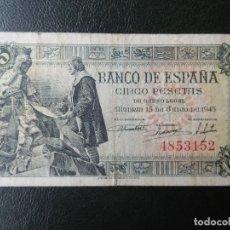 """Notas espanholas: OJO """"SIN SERIE"""" - MBC- - BILLETE DE 5 PESETAS DE 1945 - CAPITULACIONES DE SANTA FE. Lote 209690252"""