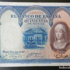 Notas espanholas: MBC- - SIN SERIE - BILLETE DE 500 PESETAS DE 1927 - ISABEL LA CATOLICA. Lote 209693123