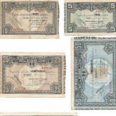 """Billetes españoles: BILLETES DE 1937 - 5, 10, 25, 50 Y 100 PESETAS. ESTADO DE CONSERVACIÓN """"MBC"""". Lote 209772828"""