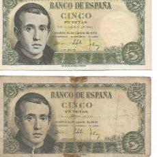"""Billetes españoles: ESPAÑA - BILLETES DE 1951, 1953, 1954, 1979 Y 1980. ESTADO """"MUI BIEN CONSERVADOS"""". Lote 209777366"""