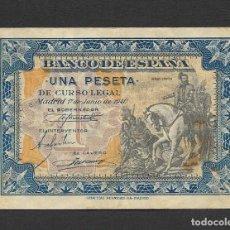 Billetes españoles: 1 PESETA 1940 SIN SERIE MBC+. Lote 209931668