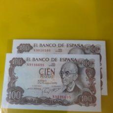 Billetes españoles: SERIE N905050598 Y N 9186698 SÍN CIRCULAR 100 PESETAS 1970 NUMISMÁTICA COLISEVM. Lote 209931706