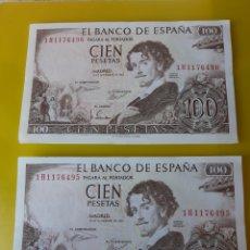 Billetes españoles: 1965 ESPAÑA 100 PESETAS SÍN CIRCULAR SERIE 1H1176495/96 NUMISMÁTICA COLISEVM. Lote 209932958