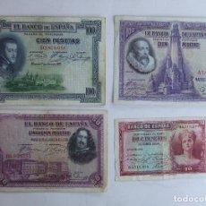 Banconote spagnole: LOTE 4 BILLETES ESPAÑA 100 50 Y 10 PESETAS PTAS. Lote 210198378
