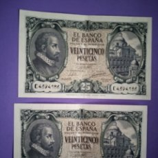 Billetes españoles: PAREJA DE BILLETES 25 PESETAS 9 DE ENERO DE 1940 SERIE C (NO CORRELATIVOS). Lote 210265287