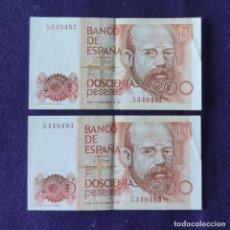 Billetes españoles: 2 BILLETES DE 200 PESETAS. 1980. SIN SERIE. CORRELATIVOS. LEOPOLDO ALAS CLARIN. ORIGINALES.. Lote 210476198