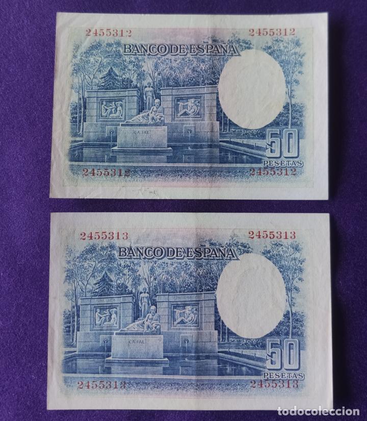 Billetes españoles: 2 BILLETES DE 50 PESETAS. 1935. CORRELATIVOS. RAMON Y CAJAL. SIN SERIE. ORIGINALES. - Foto 2 - 210477145