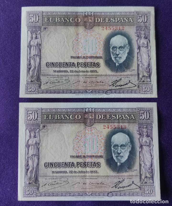 2 BILLETES DE 50 PESETAS. 1935. CORRELATIVOS. RAMON Y CAJAL. SIN SERIE. ORIGINALES. (Numismática - Notafilia - Billetes Españoles)