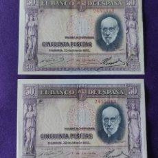 Billetes españoles: 2 BILLETES DE 50 PESETAS. 1935. CORRELATIVOS. RAMON Y CAJAL. SIN SERIE. ORIGINALES.. Lote 210477145
