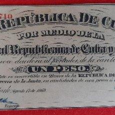 Billetes españoles: BILLETE 1 PESO DE CUBA Y PUERTO RICO 1869 EPOCA ESPAÑOLA EBC GRAPAS ORIGINAL T710. Lote 210573636
