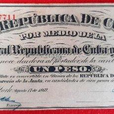 Billetes españoles: BILLETE 1 PESO DE CUBA Y PUERTO RICO 1869 EPOCA ESPAÑOLA EBC GRAPAS ORIGINAL T711. Lote 210573663