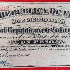 Billetes españoles: BILLETE 1 PESO DE CUBA Y PUERTO RICO 1869 EPOCA ESPAÑOLA EBC GRAPAS ORIGINAL T712. Lote 210573750