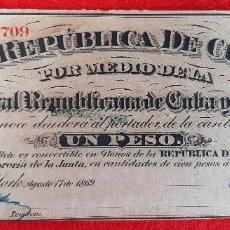 Billetes españoles: BILLETE 1 PESO DE CUBA Y PUERTO RICO 1869 EPOCA ESPAÑOLA EBC GRAPAS ORIGINAL T709. Lote 210573806
