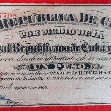 Billetes españoles: BILLETE 1 PESO DE CUBA Y PUERTO RICO 1869 EPOCA ESPAÑOLA EBC GRAPAS ORIGINAL T708. Lote 210573863