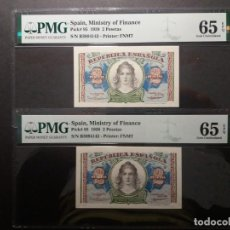 Billetes españoles: PMG BILLETE DOS PESETAS 1938 SERIE B PAREJA CORRELATIVA 65/65 EPQ PMG. Lote 210601381