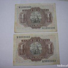 Billetes españoles: BILLETE DE 1 PESETA DE 22 -7-1953. MARQUES DE SANTACRUZ. HAY 2 BILLETES A 2 EUROS CADA UNO. Lote 210639319