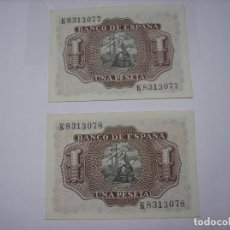 Billetes españoles: BILLETE DE 1 PESETA DE 22 -7-1953. MARQUES DE SANTACRUZ. SON 2 BILLETES SEGUIDOS DE SERIE. Lote 210639553