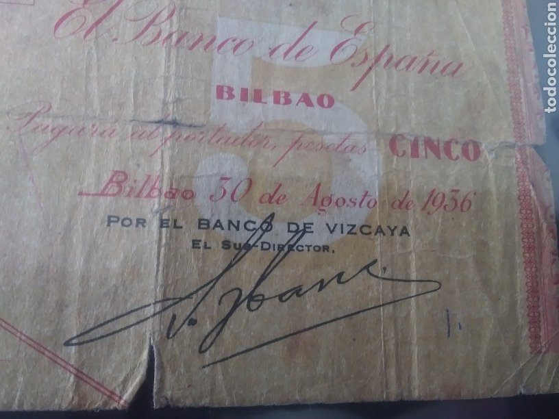 Billetes españoles: CINCO PESETAS 1936 BANCO DE ESPAÑA BILBAO - Foto 3 - 210819250
