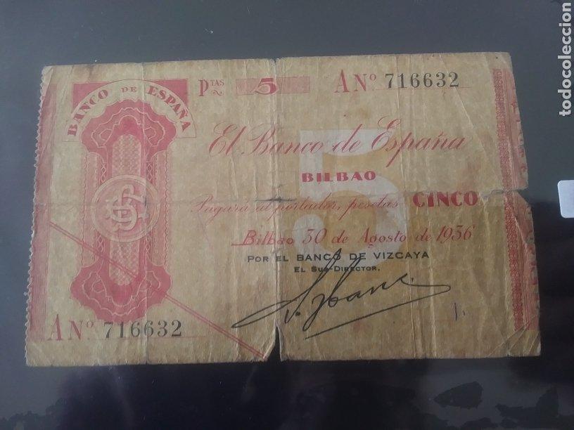 CINCO PESETAS 1936 BANCO DE ESPAÑA BILBAO (Numismática - Notafilia - Billetes Españoles)
