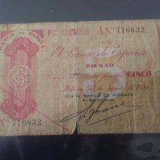 Billetes españoles: CINCO PESETAS 1936 BANCO DE ESPAÑA BILBAO. Lote 210819250