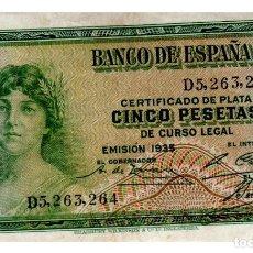 Billetes españoles: BILLETE DE ESPAÑA DE 5 PESETAS DE 1935 CIRCULADO. Lote 211255661