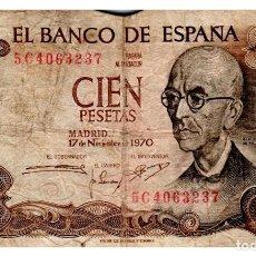 Billetes españoles: BILLETE DE ESPAÑA DE 100 PESETAS DE 1970 MUY CIRCULADO MANUEL DE FALLA. Lote 211255835