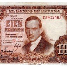 Billetes españoles: BILLETE DE ESPAÑA DE 100 PESETAS DE 1953 CIRCULADO JULIO ROMERO DE TORRES. Lote 211255899
