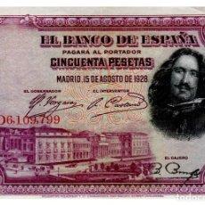 Billetes españoles: BILLETE DE ESPAÑA DE 50 PESETAS DE 1928 CIRCULADO VELAZQUEZ. Lote 211256137