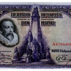 Billetes españoles: BILLETE DE ESPAÑA DE 100 PESETAS DE 1928 CIRCULADO CERVANTES. Lote 211256194