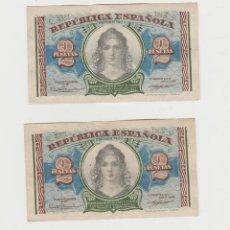 Billetes españoles: 2 PESETAS-EMISION 1938-SERIE A-PAREJA CORRELATIVA. Lote 211256440