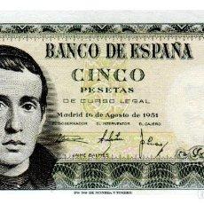 Billetes españoles: BILLETE DE ESPAÑA DE 5 PESETAS DE 1951 BUEN ESTADO. Lote 211256519