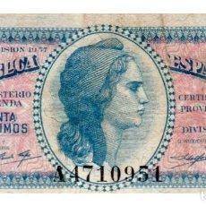 Billetes españoles: BILLETE DE ESPAÑA DE 50 CENTIMOS DE 1937 CIRCULADO REPUBLICA ESPAÑOLA MANCHADO. Lote 211256620