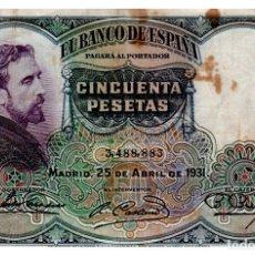 Billetes españoles: BILLETE DE ESPAÑA DE 50 PESETAS DE 1931 CIRCULADO MANCHADO. Lote 211256800