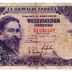 Billetes españoles: BILLETE DE ESPAÑA DE 25 PESETAS DE 1954 MUY CIRCULADO. Lote 211256840