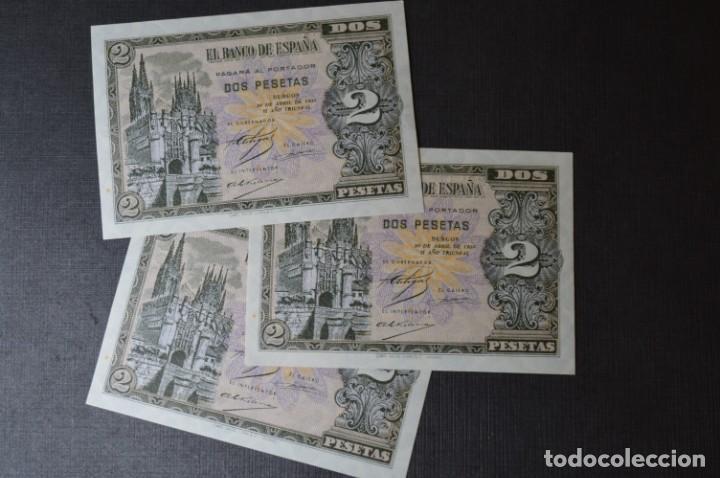 Billetes españoles: 3 BILLETES 2 Pts - 30 Abril 1938 Catedral BURGOS, Plancha / Correlativos H 1486833 / 34 / 35 ¡MIra! - Foto 2 - 211387615