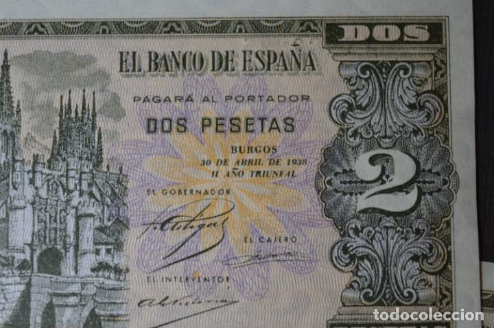 Billetes españoles: 3 BILLETES 2 Pts - 30 Abril 1938 Catedral BURGOS, Plancha / Correlativos H 1486833 / 34 / 35 ¡MIra! - Foto 3 - 211387615