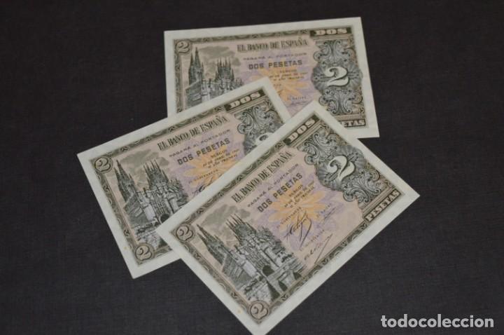 3 BILLETES 2 PTS - 30 ABRIL 1938 CATEDRAL BURGOS, PLANCHA / CORRELATIVOS H 1486833 / 34 / 35 ¡MIRA! (Numismática - Notafilia - Billetes Españoles)