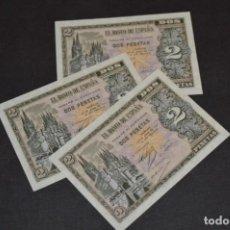 Billetes españoles: 3 BILLETES 2 PTS - 30 ABRIL 1938 CATEDRAL BURGOS, PLANCHA / CORRELATIVOS H 1486833 / 34 / 35 ¡MIRA!. Lote 211387615