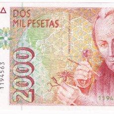 Billetes españoles: ESPAÑA 2000 PESETAS 1992 SIN SERIE Y PLANCHA CELESTINO MUTIS. Lote 211452337