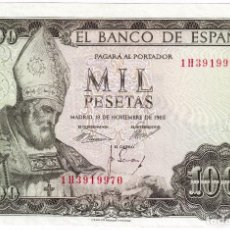Billetes españoles: ESPAÑA 1000 PESETAS 19 NOVIEMBRE 1965 CON SERIE 1H OBISPO S. ISIDORO EBC. Lote 211454982