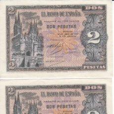 Banconote spagnole: PAREJA CORRELATIVA DE BURGOS DE 2 PESETAS DEL AÑO 1938 SERIE M EN CALIDAD EBC. Lote 211530097