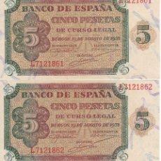 Billetes españoles: PAREJA CORRELATIVA DE BURGOS DE 5 PESETAS DEL 10 DE AGOSTO DE 1938 SERIE L SIN CIRCULAR (SC). Lote 211552949