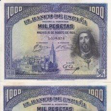 Billetes españoles: PAREJA CORRELATIVA DE 1000 PTAS DEL AÑO 1928 DE SAN FERNANDO SIN CIRCULAR (SC). Lote 211604339