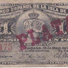 Billetes españoles: BILLETE DEL BANCO ESPAÑOL EN LA ISLA DE CUBA DE 1 PESO DEL AÑO 1896 CERTIFICADO PLATA (RARO). Lote 211610252