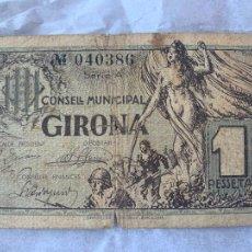 Billetes españoles: BILLETE LOCAL GIRONA 1937 1 PESSETA. Lote 211705625