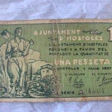 Billetes españoles: BILLETE LOCAL AJUNTAMENT D´HOSTOLES 1937 UNA PESSETA. Lote 211706483