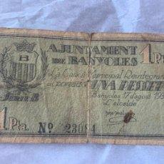 Billetes españoles: BILLETE LOCAL AJUNTAMENT DE BANYOLES UNA PESSETA 1937. Lote 211719455